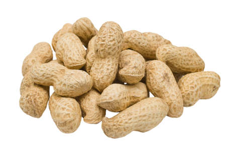 Handful peanut on white background Stock Photo