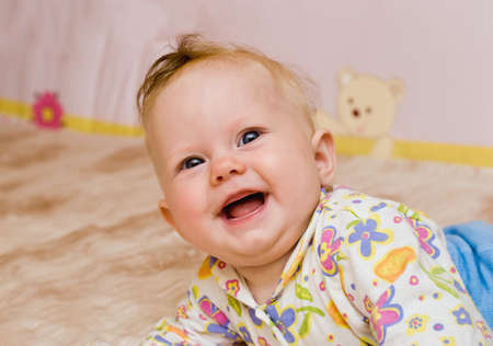 Portrait of happiness baby laughter