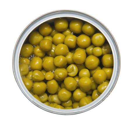 Tinned green peas on white background photo