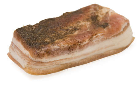 Piece of salt fat on white backgound