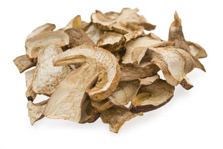 Dried  cep mushrooms on white background