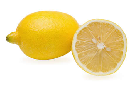 One and half lemon on white background