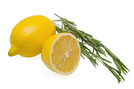 Lemon and rosemary on white background