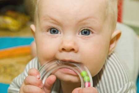 gnaw: Baby gnaw handle teether with little ball