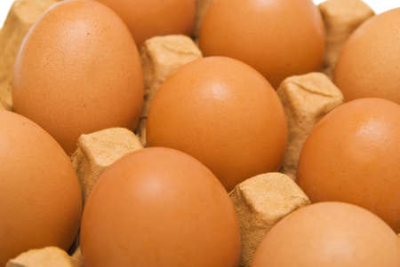 Eggs in cardboard. view on inclination