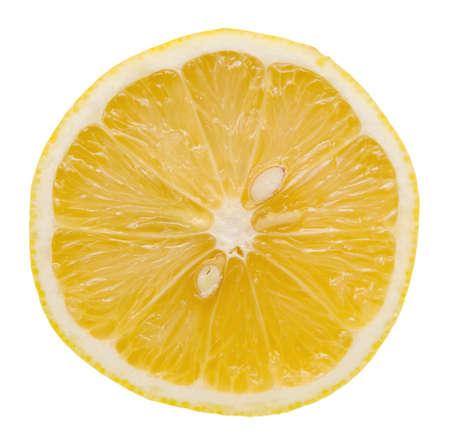 Slice of lemon on white background