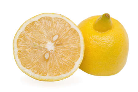 Two halves of lemon on white background Stock Photo