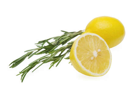 Lemon and rosemary branch on white background