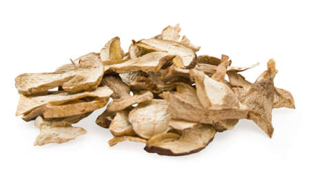Dried mashrooms  on white background Stock Photo