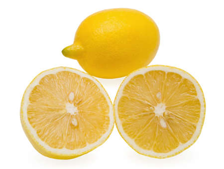 One lemon and two segments of lemon on white background