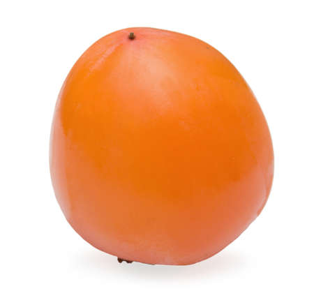 One persimmon  lie on white background