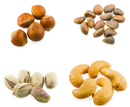 Some different nuts on white background photo