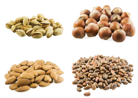 Handful of different nuts on white background Stock Photo