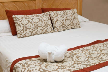 coverlet: Interior with a bed with figure from towel