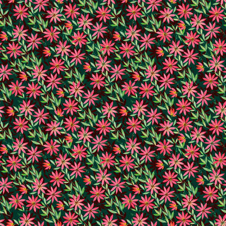 seamless pattern with watercolor illustration, curly red orange ocher flowers Clematis on green blue claret background. Illustration for printing on fabric, wallpaper, wrapping paper, textile design. Autumn pattern, autumn colors Stok Fotoğraf - 108845280