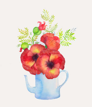 bouquet of flowers of red poppies in a blue teapot, watercolor illustration