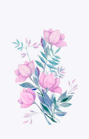 bouquet of fantasy purple flowers, watercolor illustration Stok Fotoğraf