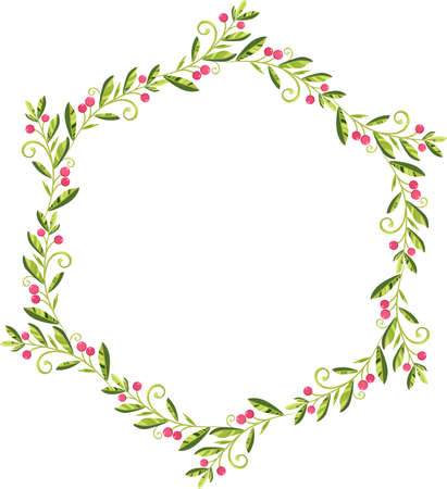 circle wreath of green leaves with red berries vector