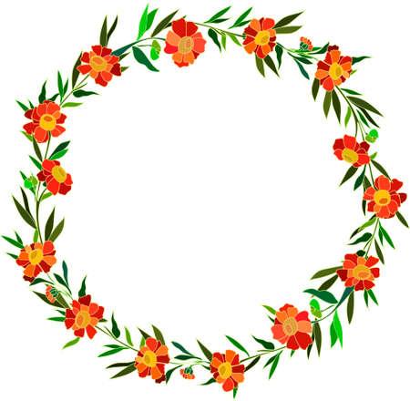 round wreath of orange flowers