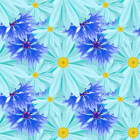 Vector seamless background with light blue daisies and blue, lilac cornflowers .