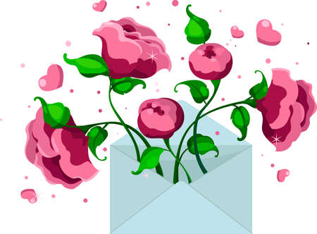 blue envelope with pink peonies and hearts, letter of love, vector illustration. Drawing for a card, congratulations on Valentines Day