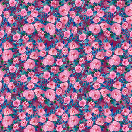 bouquet of flowers of red roses, seamless pattern, watercolor illustration. Pink and purple colors. The print, drawing for printing on fabric, textile design, wallpaper, wrapping paper