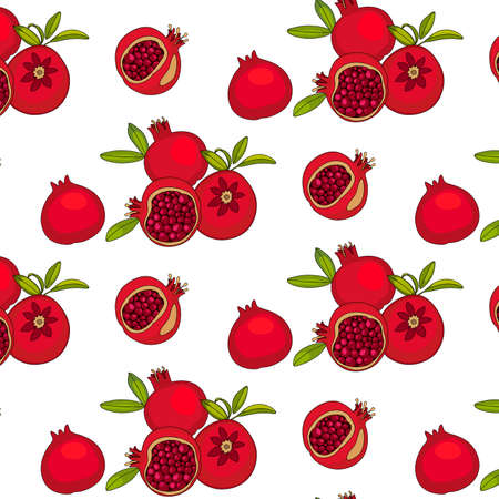red pomegranate fruits, seamless pattern. Drawing for printing on fabrics, decor, backgrounds Stok Fotoğraf