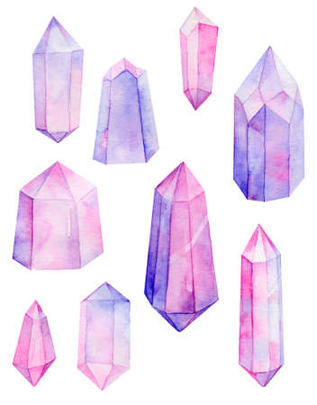 pink and purple crystal gems set, watercolor hand painted illustration.    Elements  isolated on white background  for printing, decoration, wrapping paper.