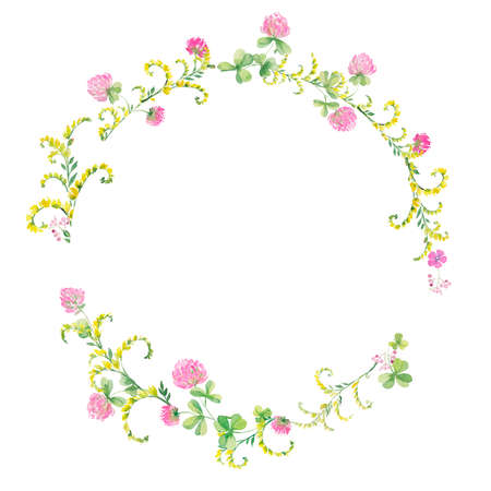 Watercolor wreath of flowers pink clover and yellow vetch. Hand drawing for cards, invitations, decor
