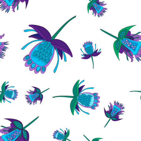 Dark blue and green stylized fantastic flowers, seamless vector pattern.  decorative flowers in folk style Çizim