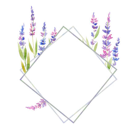 Watercolor lavender frame of flowers. floral provencal style design . Hand drawn field flowers  isolated on white background.