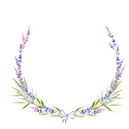 Watercolor lavender wreath of flowers, circle. floral provencal style design . Hand drawn field flowers  isolated on white background. Floral design