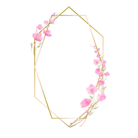 frame with Cherry blossom, sakura, branch with pink flowers, watercolor illustration. Hand drawing for the design of invitations, cards, decorations