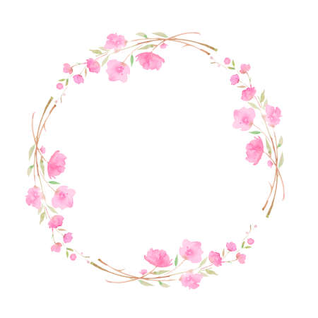 Round wreath, frame with Cherry blossom, sakura, branch with pink flowers, watercolor illustration. Hand drawing for the design of invitations, cards, decorations