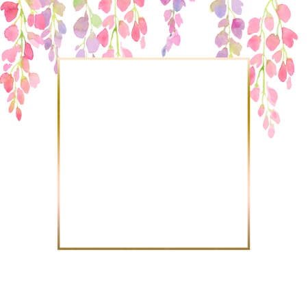 pink and purple wisteria frame,  branches and flowers, watercolor illustration.  design for print, greeting card, postcard, invitation, fashion fabric. Stok Fotoğraf