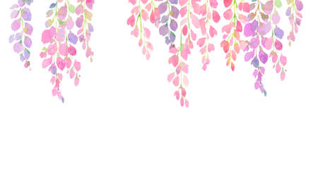 violet and pink wisteria flowers, watercolor hand painting on white  background,  design for print, greeting card, postcard, invitation, fashion fabric,  for decorated the invitation or wedding card