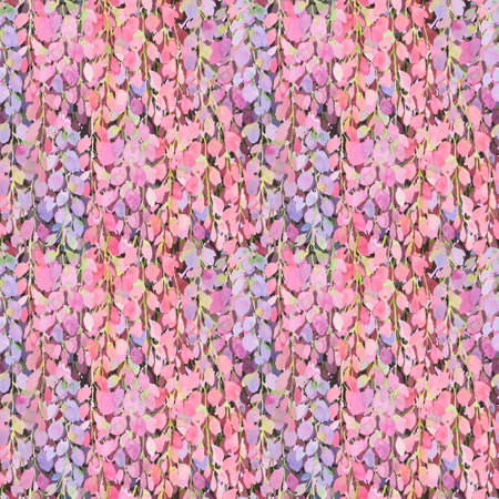 wisteria flowers pink seamless pattern, watercolor illustration. Drawing for printing on fabrics, packaging, paper