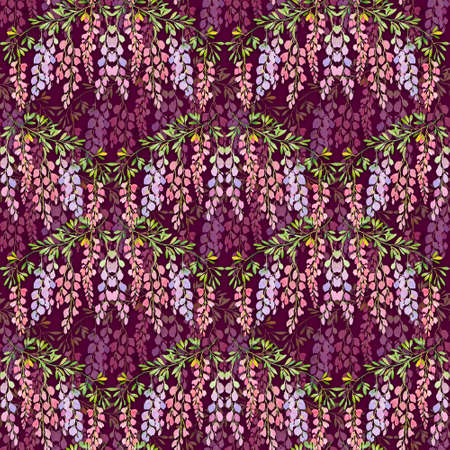 wisteria flowers seamless pattern , watercolor illustration. Drawing for design wallpaper, wrapping paper, textiles