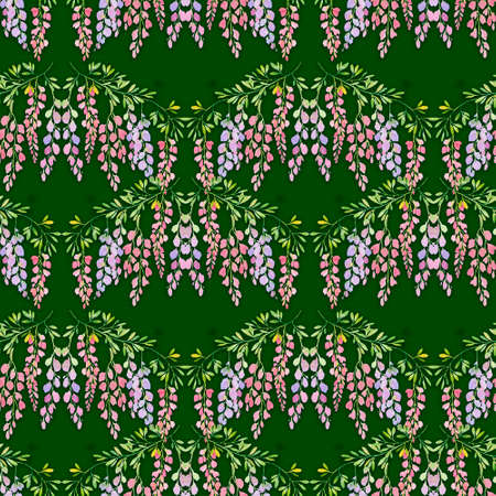 wisteria flowers seamless pattern on green background, watercolor illustration. Drawing for design wallpaper, wrapping paper, textiles Stok Fotoğraf