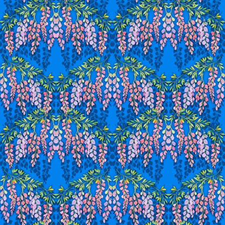 wisteria flowers seamless pattern on blue background, watercolor illustration. Drawing for design wallpaper, wrapping paper, textiles