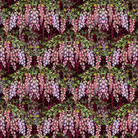 wisteria flowers seamless pattern on claret background, watercolor illustration. Drawing for design wallpaper, wrapping paper, textiles