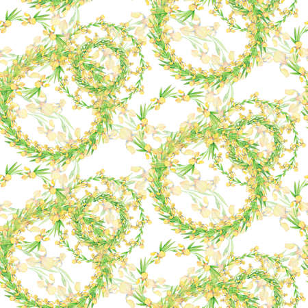 seamless pattern with yellow watercolor irises, pattern of circles, drawing for fabric, textile, wallpaper, paper Stok Fotoğraf