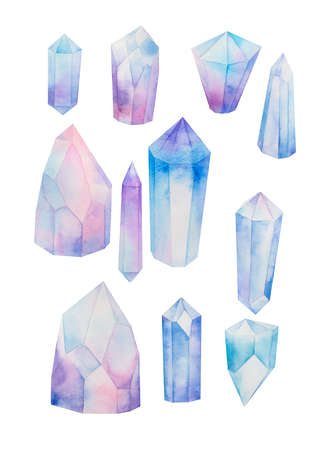 blue crystal mineral gems set, watercolor hand painted illustration. Elements isolated on white background Stok Fotoğraf