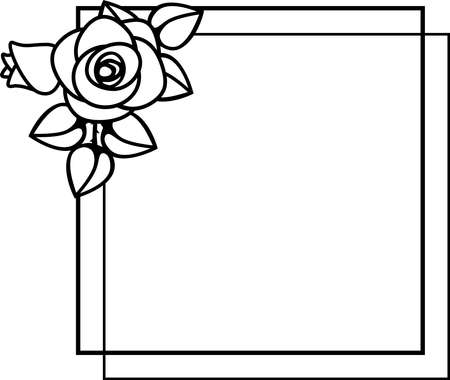 frame with rose flowers . Template for print, invitation and greeting card  for the design of presentations, invitations, wedding decor.