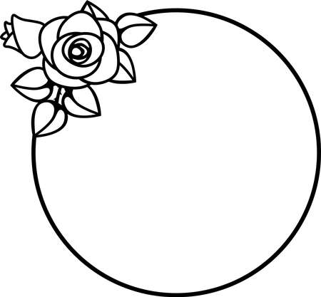 round frame with rose flowers, black and white vector illustration for the design of presentations, invitations, wedding decor.