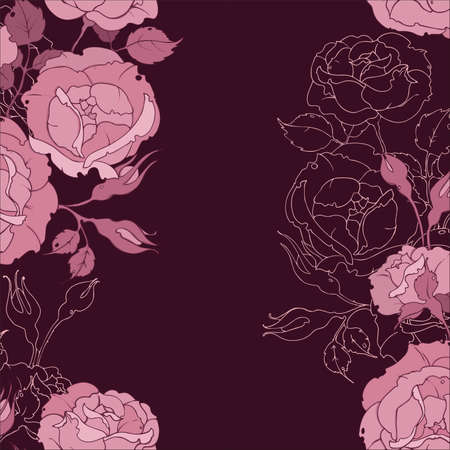 seamless pattern with fawn tender pink roses. Drawing flowers and buds vector illustration for fabric, wallpaper, wrapping paper.