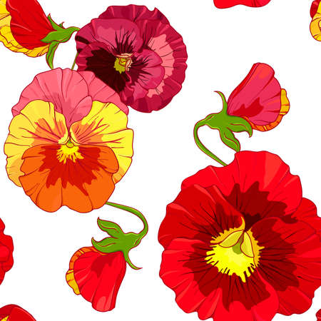 ReRed and orange pansies, pansy viola flowers.d and orange pansies, pansy viola flowers. background with colorful pansy