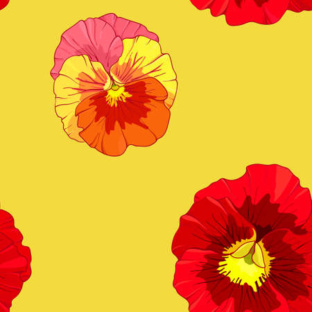 Bright red and orange flowers of pansy  on a yellow background. Seamless vector pattern. Hand drawing vector illustration.