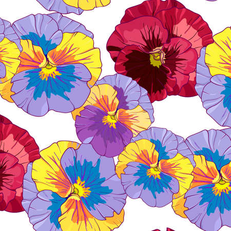 blue  and purple pansy on a dark background. Seamless vector pattern. Hand drawing flowers  vector illustration. Illusztráció