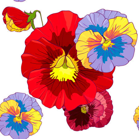 Bright red and orange flowers of pansy . Seamless vector pattern. Hand drawing vector illustration. Illusztráció
